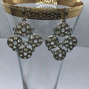 VTG Festive Sparkling Dangle Earrings Silver